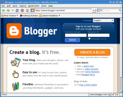 Blogger home page in English